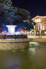 SOFIA, BULGARIA - JUNE 30, 2017: Night photo of Fountain in front of The Building of the Presidency in Sofia, Bulgaria