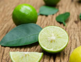 Lime lemon on old wood table