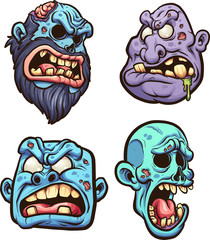 Cartoon zombie heads. Vector clip art illustration with simple gradients. Each on a separate layer.