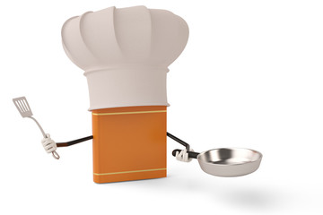 Cartoon character chef book on white background.3D illustration