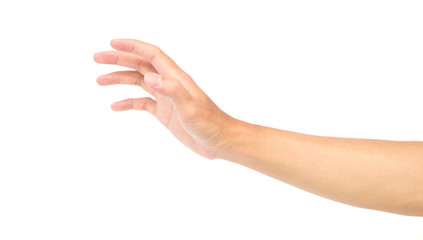 Clutch man hand on white background