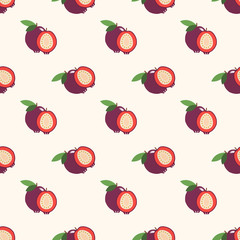 Seamless background image colorful tropical fruit strawberry guava