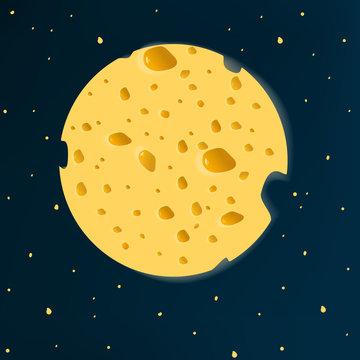 cheese moon. vector