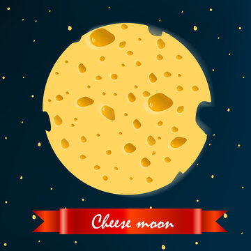cheese moon with  red ribbon. vector