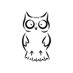 Hand drawn owl vector illustration, black on white background