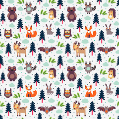 Funny animal seamless pattern with white background made of wild animals in forest: bear, deer, hedgehog, raccoon, fox, rabbit, owl and bat