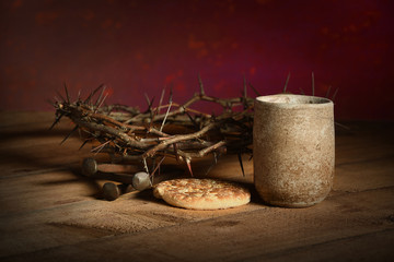 Crown of Thorns, Cup, Nails and Bread