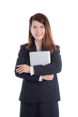 Beautiful asian businesswoman holding tablet computer over white