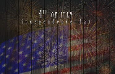 Multicolor Fireworks Celebrate over the United state of America USA flag on the wooden background, Independence day concept