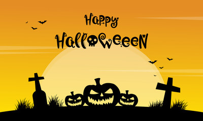 Happy Halloween yellow background with grave