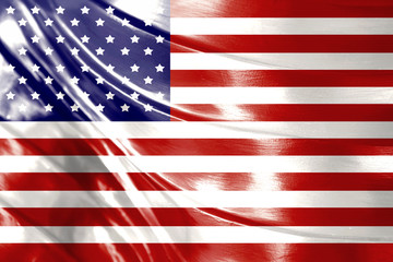 American flag design with shiny wave texture background