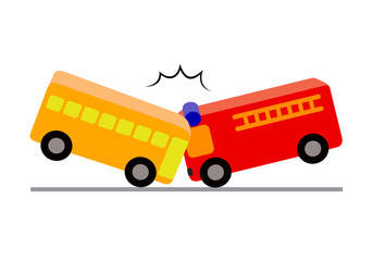 Creative toy blocks, bus with passengers crashed a fire truck. Vector illustration isolated on white background. Road accident concept.