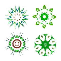 Set of ethnic round vector elements.