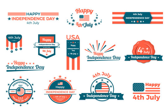 4th of july, Happy independence day labels, baners and badges set. Vector flat design