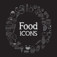 Food icons set infographic and illustration on black background