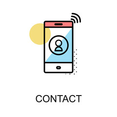 Contact icon and cellphone on white background with illustration design.vector