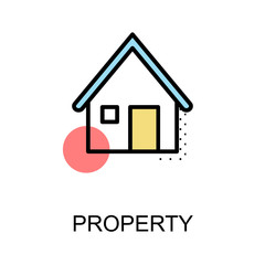 Property icon and home symbol on white background with illustration design.vector