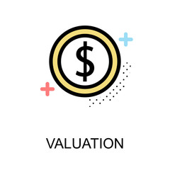 Valuation icon with coin on white background illustration design.vector