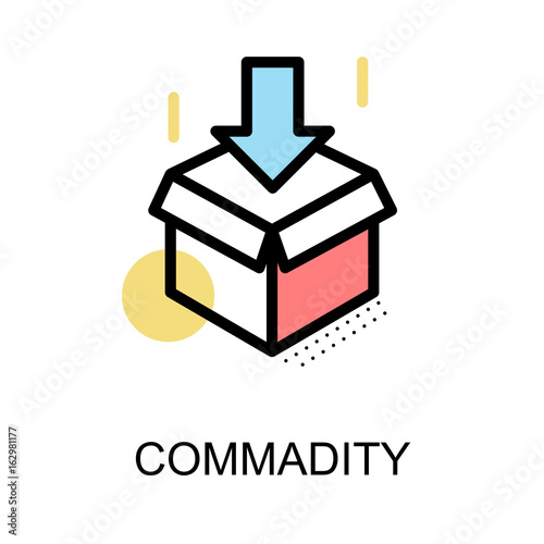 Commadity Icon And Open Box Symbol On White Background With