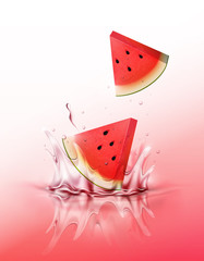 Sliced Watermelon drop on juice splash and ripple, Realistic Fruit and yogurt, transparent, vector illustration