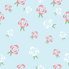 Red and white roses seamless vector pattern dsign