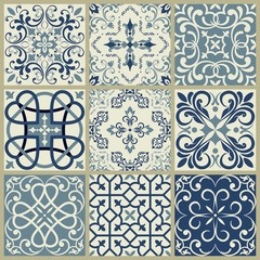 Seamless patchwork pattern from blue ornaments. Ceramic tiles. Set of mandalas.