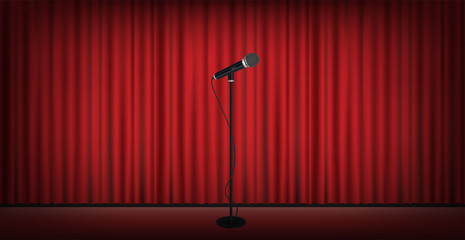 microphone stand on stage red curtain background