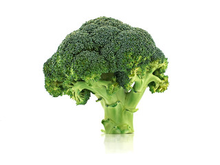 Fresh green vegetable broccoli s isolated on white background. Front view.