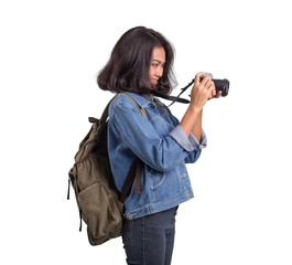 Asian women with camara for backpacking on white background