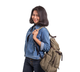 Asian women with luggage for backpacking on white background