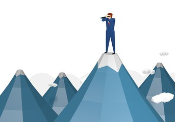 Businessman standing on top of the mountain using telescope looking for success