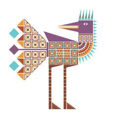 Цветное изолированное декоративное изображение стоящей птицы с геометрическими узорами из треугольников и квадратов.