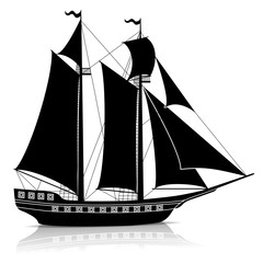 silhouette vintage sailing ship with reflection