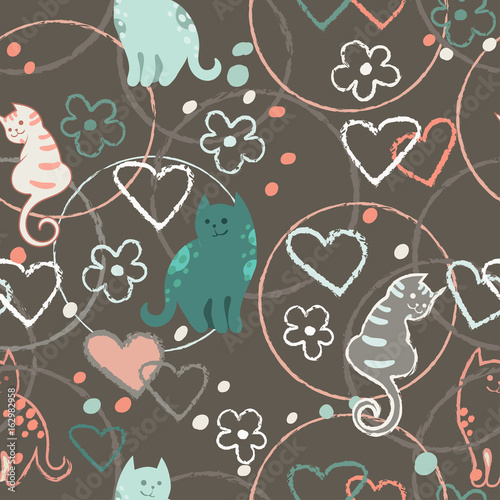Seamless Pattern With Cute Cartoon Doodle Cats On Brown Background Little Colorful Kittens Funny