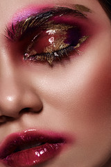 Beauty Woman with glossy pink Lips