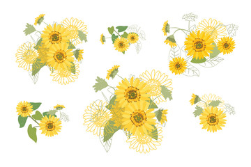 Vector Illustration Yellow Sunflowers