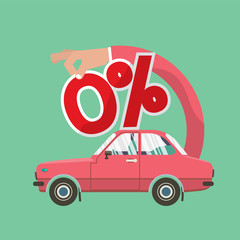 Zero Percent Car Loan Vector Illustration