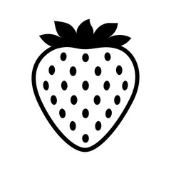 Garden strawberry fruit or strawberries line art vector icon for food apps and websites