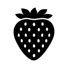 Garden strawberry fruit or strawberries flat vector icon for food apps and websites
