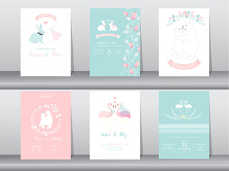 Set of wedding invitation cards,poster,template,greeting cards,animals,rabbits,bears,flamingo,Vector illustrations
