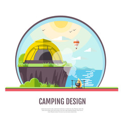 Flat style design of seaside landscape and camping.