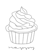 Hand drawn vector cupcake line art on the white background. Cartoon dessert outlined illustration for kitchen, cafe and bakery