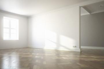 Raumadaptation: leeres Wohnzimmer