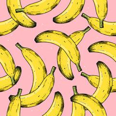 Fun fruit background. Banana seamless pattern. Vector illustration