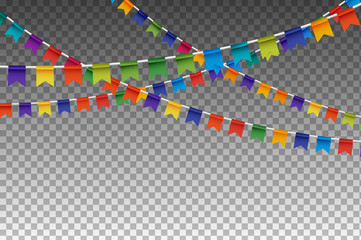 Colorful Isolated Garland With Party Flags. Vector Illustration