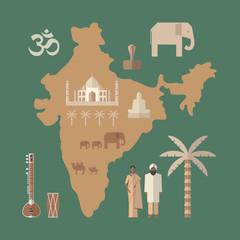 Traditional symbols of India. Flat icon