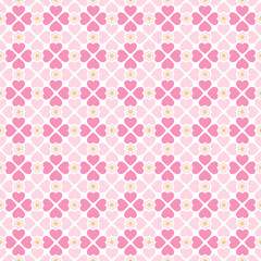Seamless hearts pattern with flowers