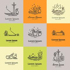 Set of elements for logo design.