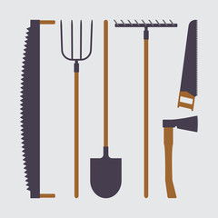 Set of tools for farmers farming in the flat style