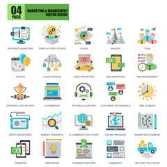 Flat conceptual icons pack business marketing